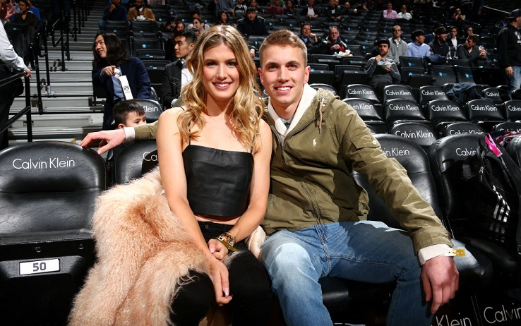 BROOKLYN, NY - FEBRUARY 15: Tennis payer, Genie Bouchard poses for a picture with her date during the game between the Brooklyn Nets and the Milwaukee Bucks on February 15, 2017 at Barclays Center in Brooklyn, New York. NOTE TO USER: User expressly acknowledges and agrees that, by downloading and or using this Photograph, user is consenting to the terms and conditions of the Getty Images License Agreement. Mandatory Copyright Notice: Copyright 2017 NBAE (Photo by Ned Dishman/NBAE via Getty Images)