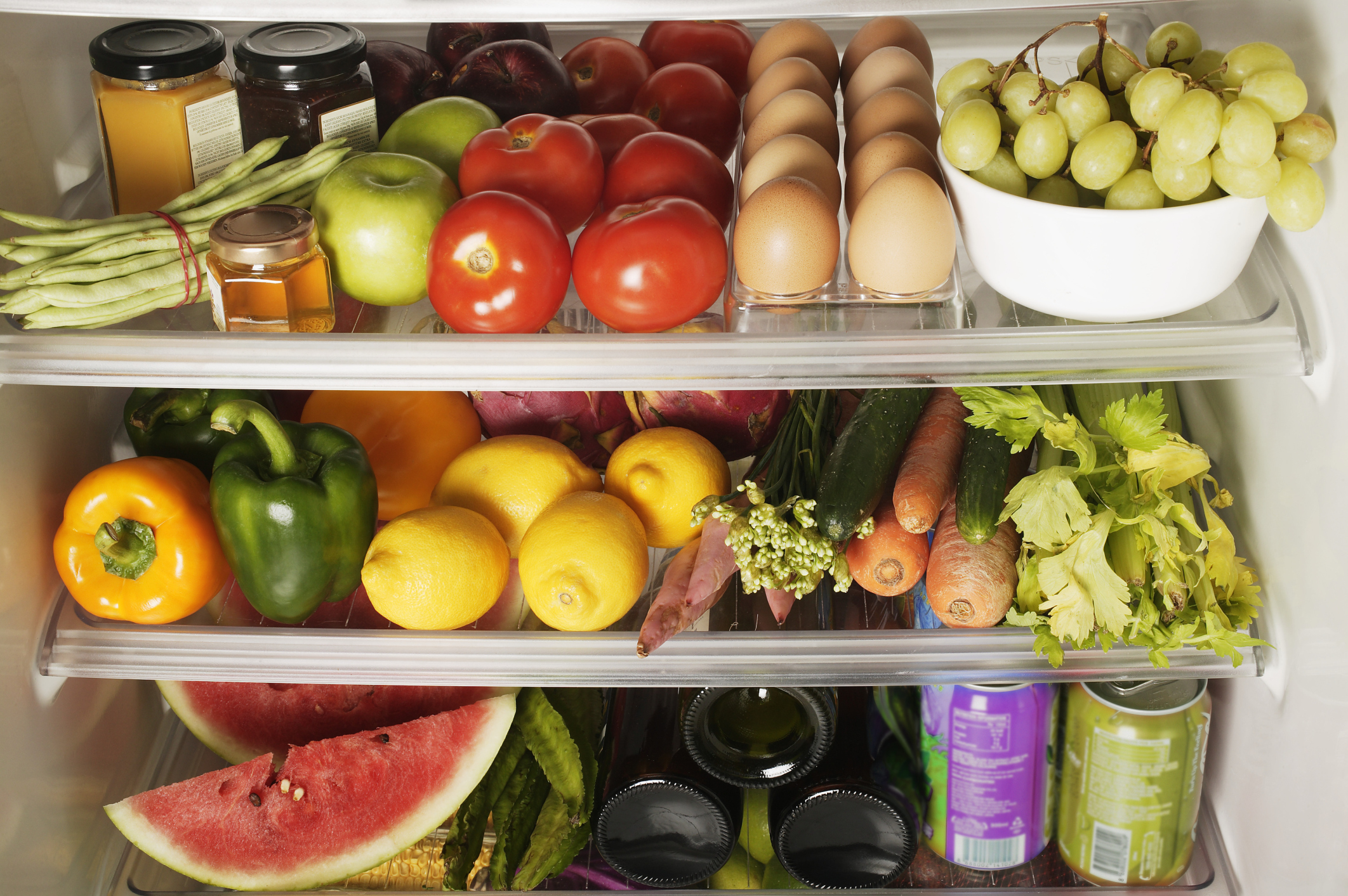 Packed Refrigerator Shelves