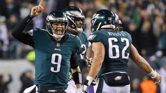 Jan 21, 2018; Philadelphia, PA, USA; Philadelphia Eagles quarterback Nick Foles (9) celebrates after throwing a touchdown pass against the Minnesota Vikings in the NFC Championship game at Lincoln Financial Field. Mandatory Credit: Geoff Burke-USA TODAY Sports